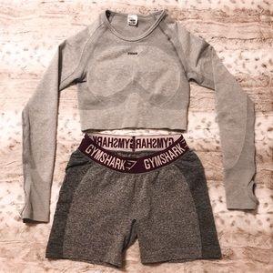 Gymshark Flex Long Sleeve Crop Top & Flex Shorts